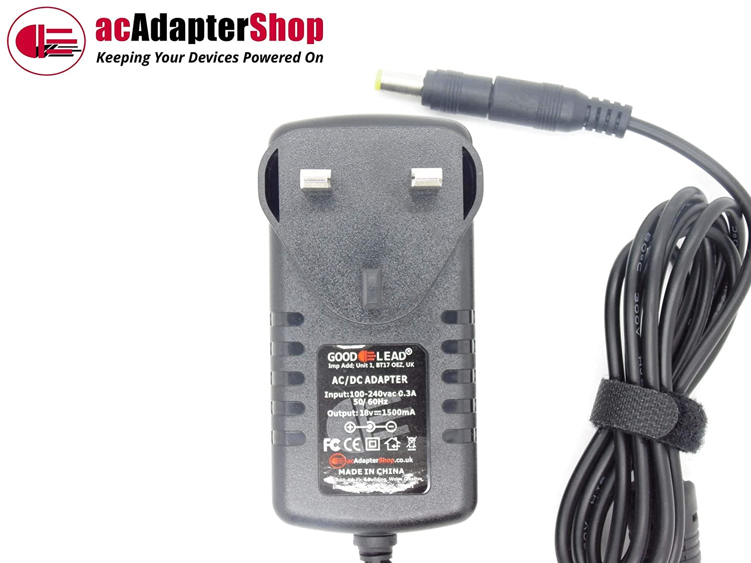 18V 1.5A 1500mA AC DC Adapter Charger Power Supply 5.5mm x 2.1mm Positive Centre