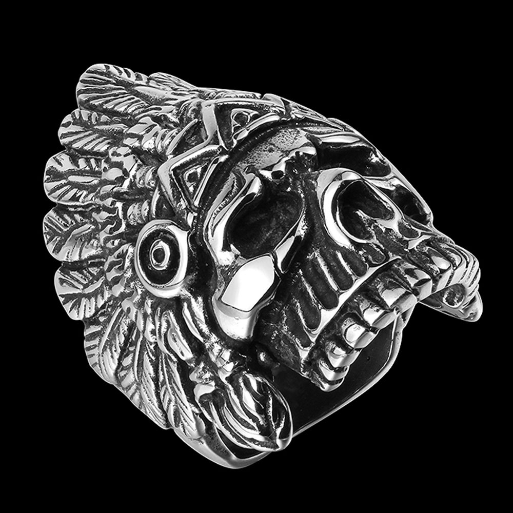 BLOOMCHARM Skull Rings for Men Boys Jewelry Punk Head Stainless Steel Bands Gifts Presents by BLOOMCHARM (Image #4)