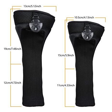 LONGCHAO Black Golf Head Covers Driver 1 3 5 Fairway Woods Headcovers Long Neck 1680D Knit Head Covers for Golf Club Fits All Fairway and Driver Clubs ...