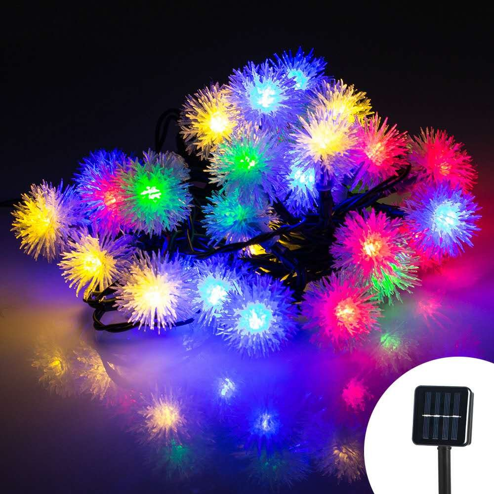 E&Tree Solar Christmas String Lights, 50 LED Chuzzle Ball 23ft Multi-color 8 Modes Waterproof Decorative Fairy Globe for Thanksgiving