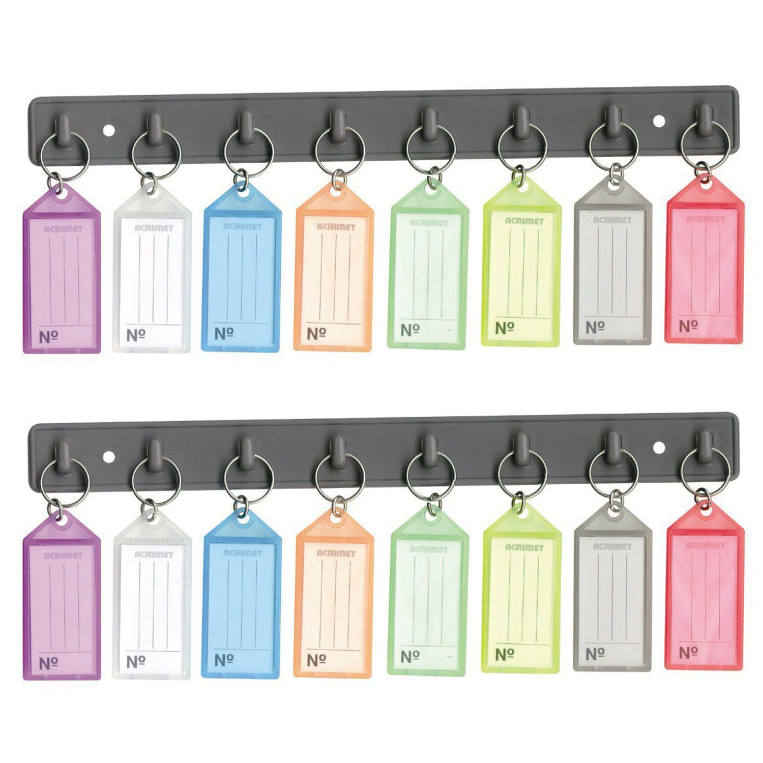 Acrimet Key Tag Rack w/ 8 Keyring Tags (2 Pack)