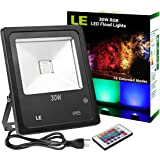 LE Remote Control 30W Outdoor RGB LED Flood Lights, Dimmable, 16 Colors Change, 4 Modes, Waterproof, Wall Washer, for Garden, Yard, Warehouse