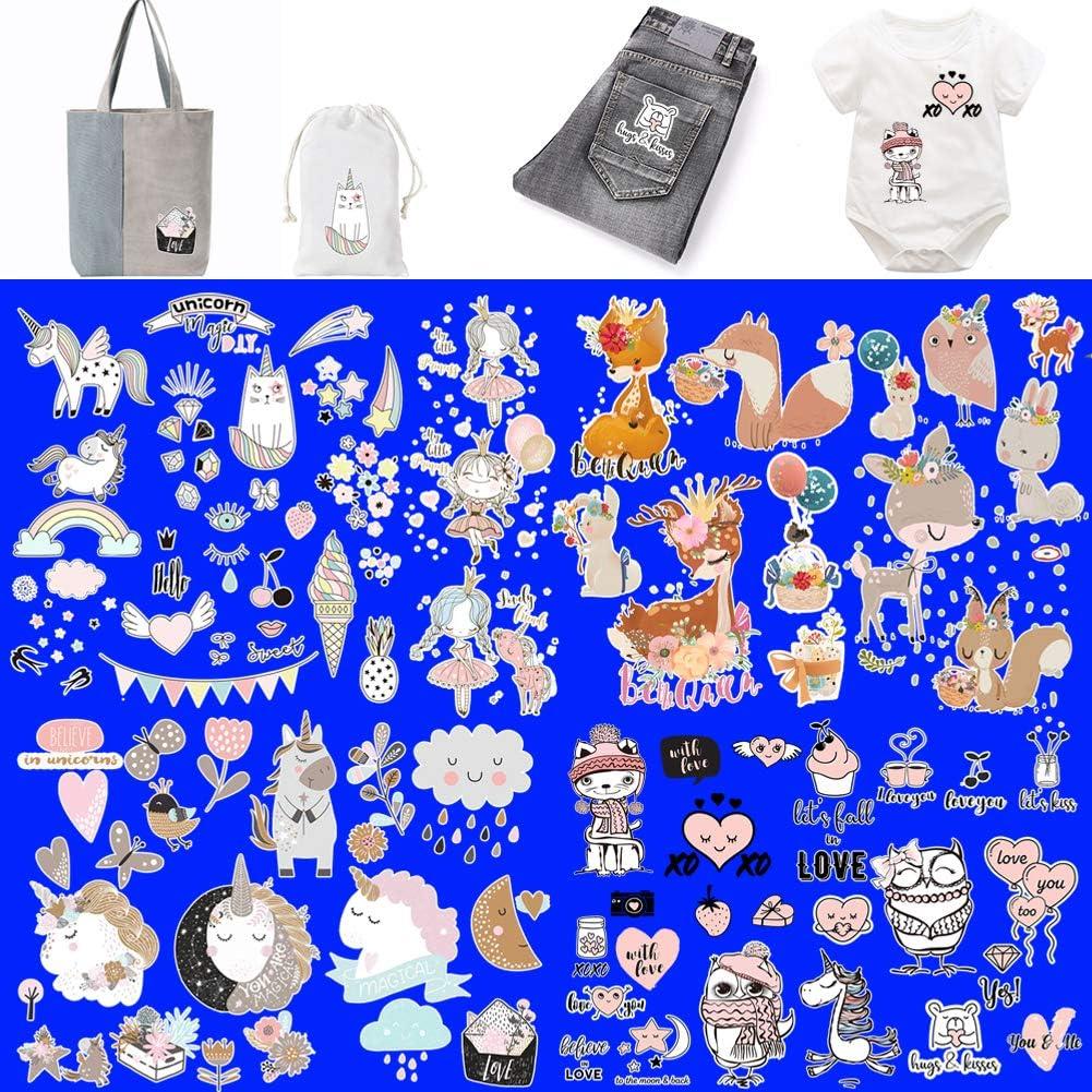 T-Shirt DAHI Einhorn B/ügelbilder Herz Tiere Thermotransfer-B/ügelbilder Sch/ädel Muster Traumf/änger Patches W/ärme/übertragung Aufkleber f/ür Kleidung Jeans A Taschen DIY