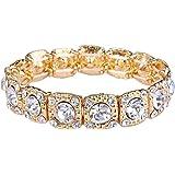 """Ever Faith® cadeaux de Saint Valentin Femme """"cristal rond de mariage élastique Bracelet extensible clair"""