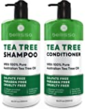Tea Tree Oil Shampoo and Conditioner ​Set - Natural ​Anti Dandruff Sulfate Free Scalp Treatment - Antifungal ​and…