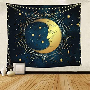 Imandale Moon Tapestry Blue Zodiac Psychedelic Celestial Wall Blanket Room Decor,Table Cloth for Bedroom, Living Room 51x59 Inches