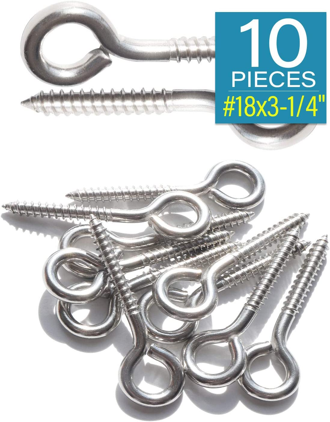 304 IMScrews 10pcs #18 x 3-1/4 Inch Screw Eyes Small Eyelet Screws ...