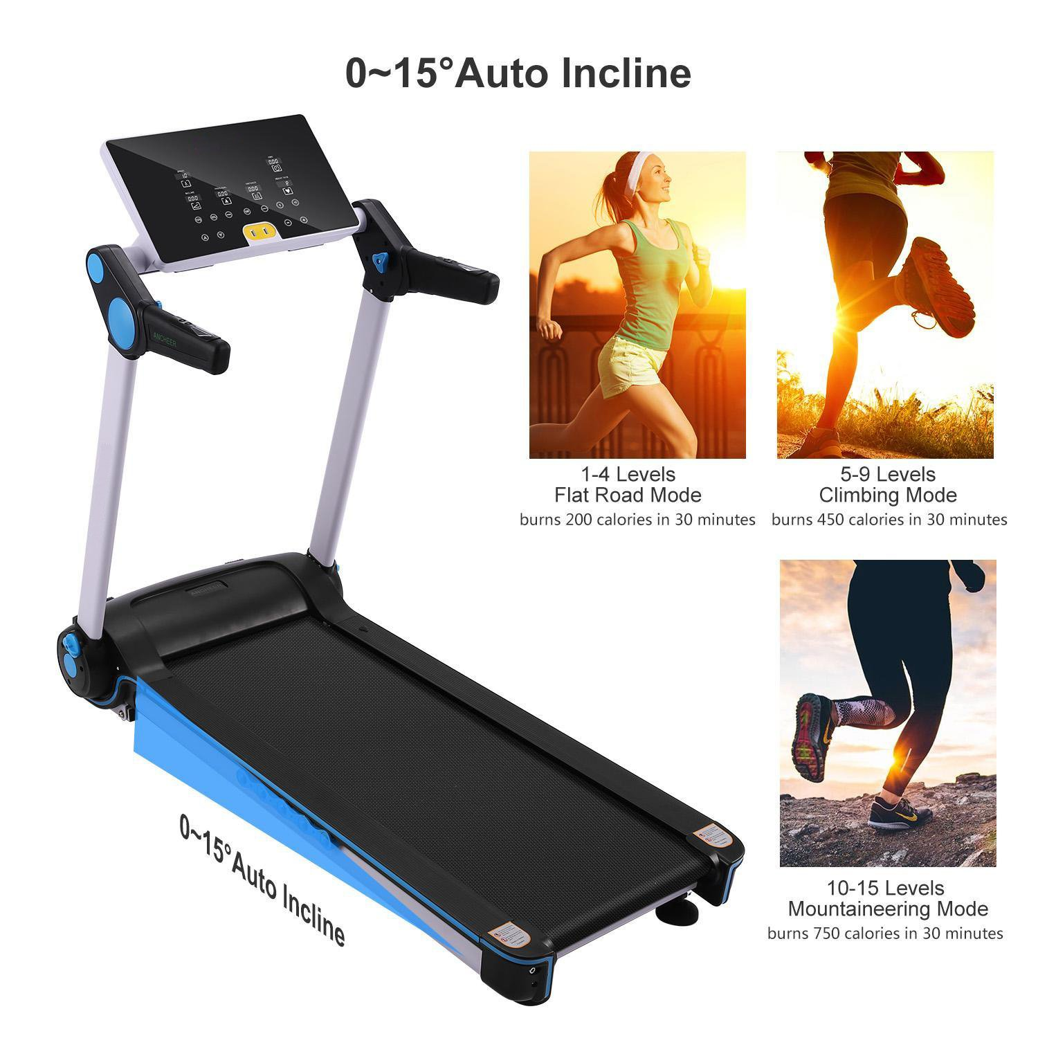 Garain S6400 Folding Electric Treadmill, Bluetooth App Control Touch Screen Exercise Equipment Walking Running Machine Home Fitness Treadmills (US STOCK) by Garain (Image #3)