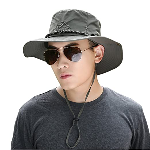 6719de6aa Kafeimali Outdoor Cowboy Sun Caps Wide Brim Bucket Fishing Summer String  Hats (Army Green)