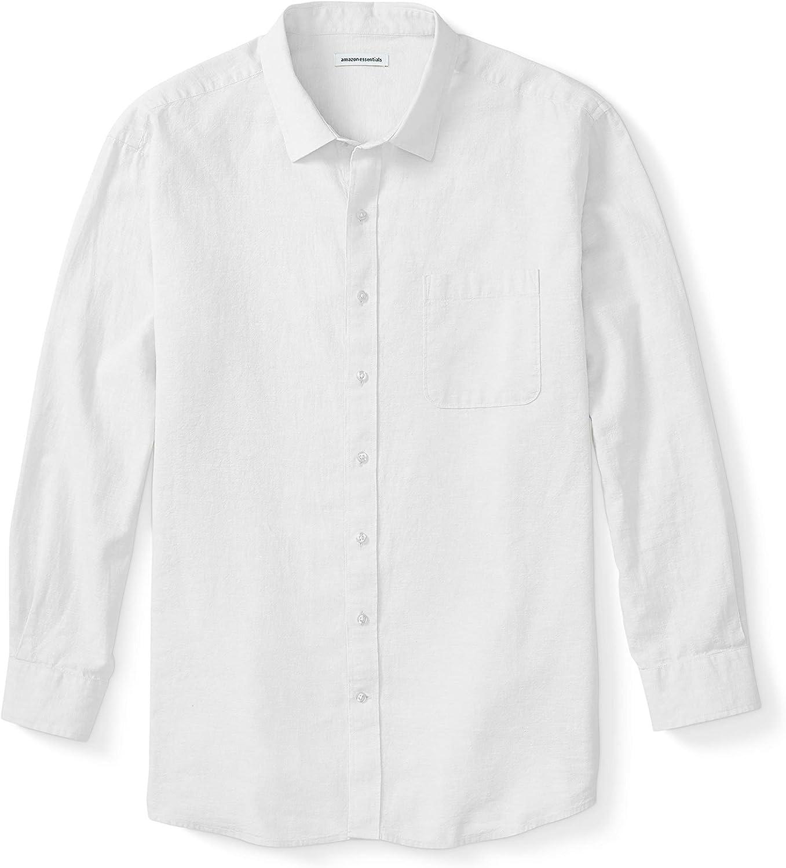 Essentials Men's Big & Tall Long-Sleeve Linen Cotton Shirt fit by DXL: Clothing