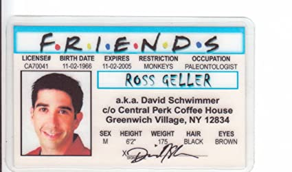 Games I For Drivers Perk Novelty Fake Central Geller Signs4fun David Toys Fans License Schwimmer By Amazon Friends Of Ross Aka d amp; com Identification
