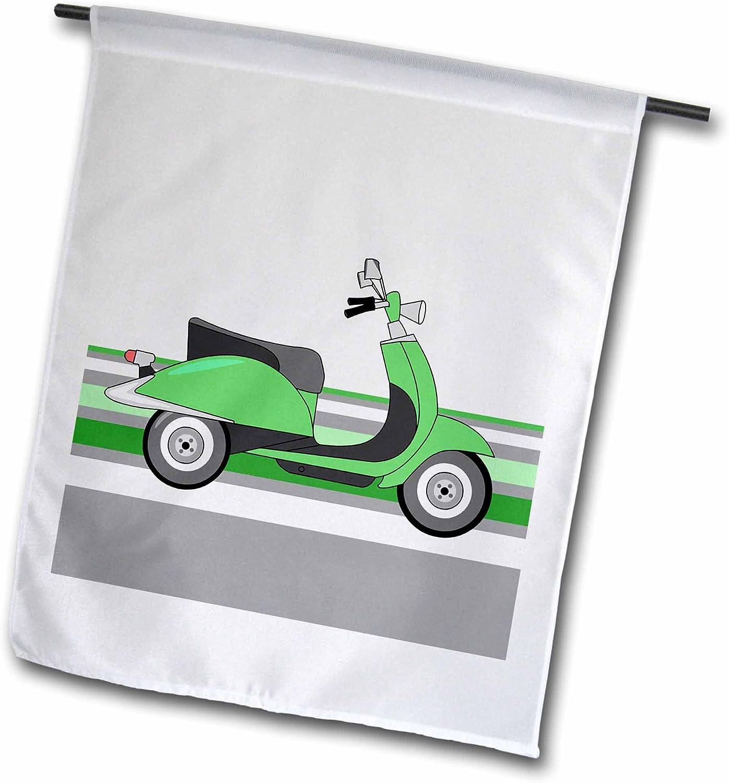 3dRose Janna Salak Designs Retro Designs - Green Retro Scooter - 12 x 18 inch Garden Flag (fl_77571_1)