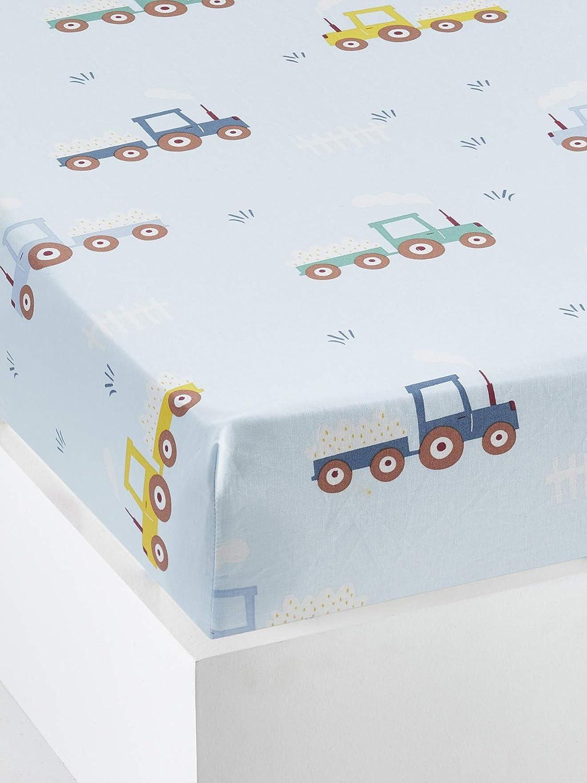 VERTBAUDETKinder Spannbettlaken,Auf dem Bauernhofblau bedruckt90x140