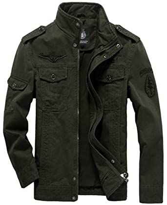 Amazon.com: Men's Military Style Air Force Jacket Military Coat ...