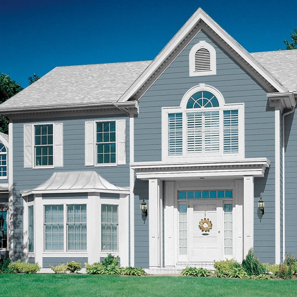 Amazon Com Glidden Exterior Paint Primer Blue Chalky Blue One Coat Satin 5 Gallons Home Improvement