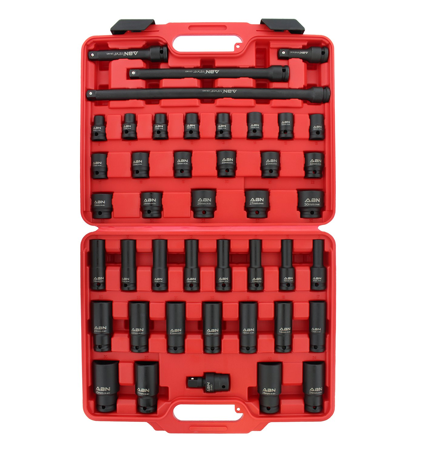 ABN 1/2'' Inch Drive Metric Master Deep & Shallow Impact Socket 43-Piece Set 9mm to 30mm with Extensions & Swivel Joint by ABN (Image #4)