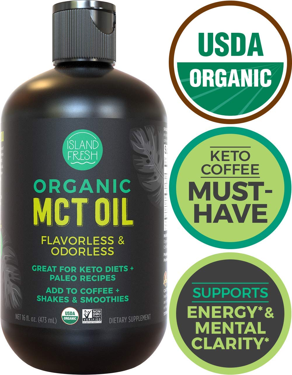 Organic MCT Oil For Keto Diet | Perfect for Morning Coffee, Helps Support Increased Energy | Made From 100% Organic Coconuts (16 fl. oz) by Island Fresh