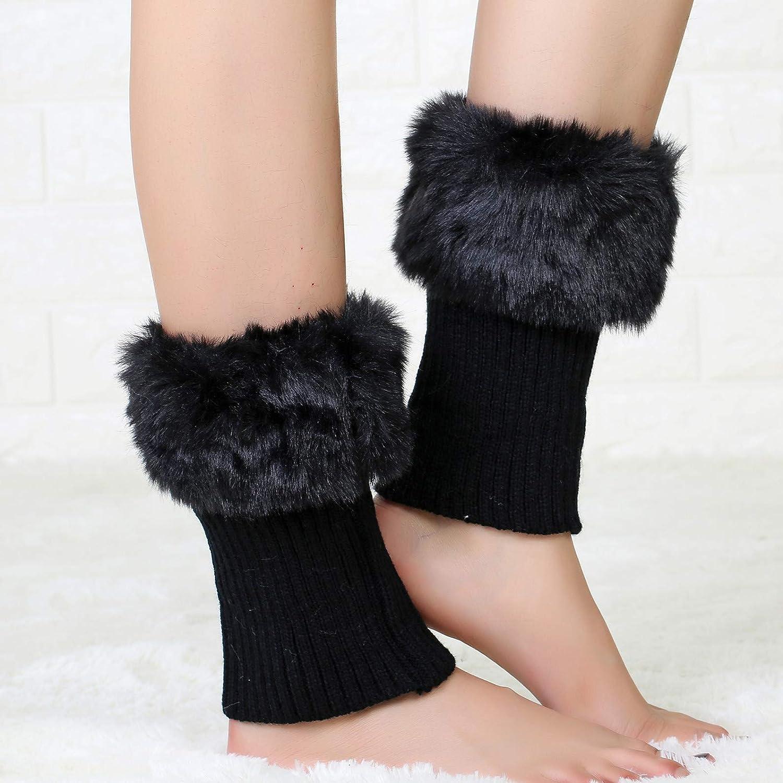 Tukistore 3 paia Scaldamuscoli Donna Inverno Legwarmer Stivali Calze Topper Cuff Scaldamuscoli Boot Socks Legging per Donna Ragazza