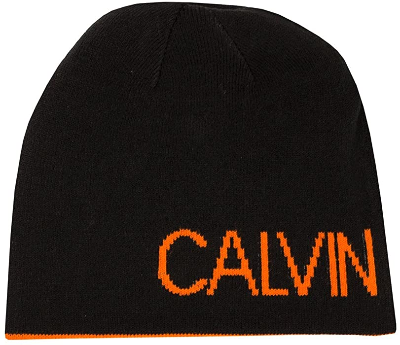 Calvin Klein Golf Mens 2018 Logo Beanie Hat - Black Orange - One ... a8c14be5bb8