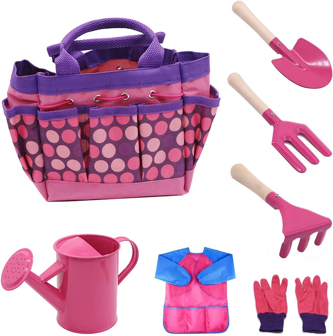 MoTrent Children Gardening Tools Set, 7 PCS Kids Garden Tool Toys Including Watering Can, Gardening Gloves, Shovel, Rake, Trowel, Garden Toe Bag and Kids Smock - Pink