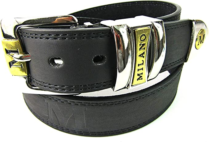 New metal Black and Brown Loop Milano Leather Buck Belt High Qaulity Gents