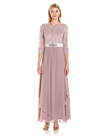 511d1cfef950 Amazon.com: Jessica Howard Women's Lace Bodice Gown With Inset Waist ...