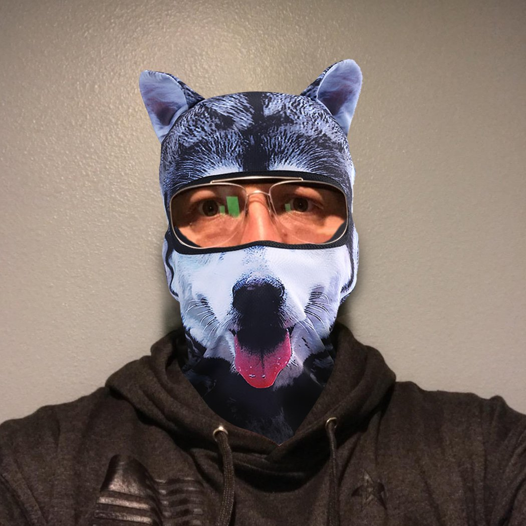 Outgeek Cat Mask, Women Men Balaclava Summer Full Face Hat Animal Ears Sports Helmet Climbing Fishing Cap (2PCS Dogs) by Outgeek (Image #4)