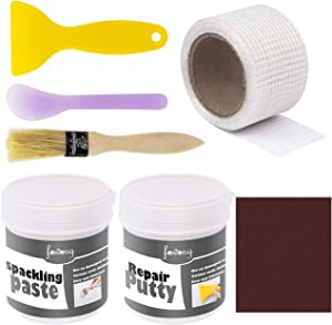fowong Wall Repair Patch Kit Putty & Paint White, Drywall Patch Repair Kit DIY to Fix Wall Holes and Creak Damage with Putty Knife and Sanding Pad