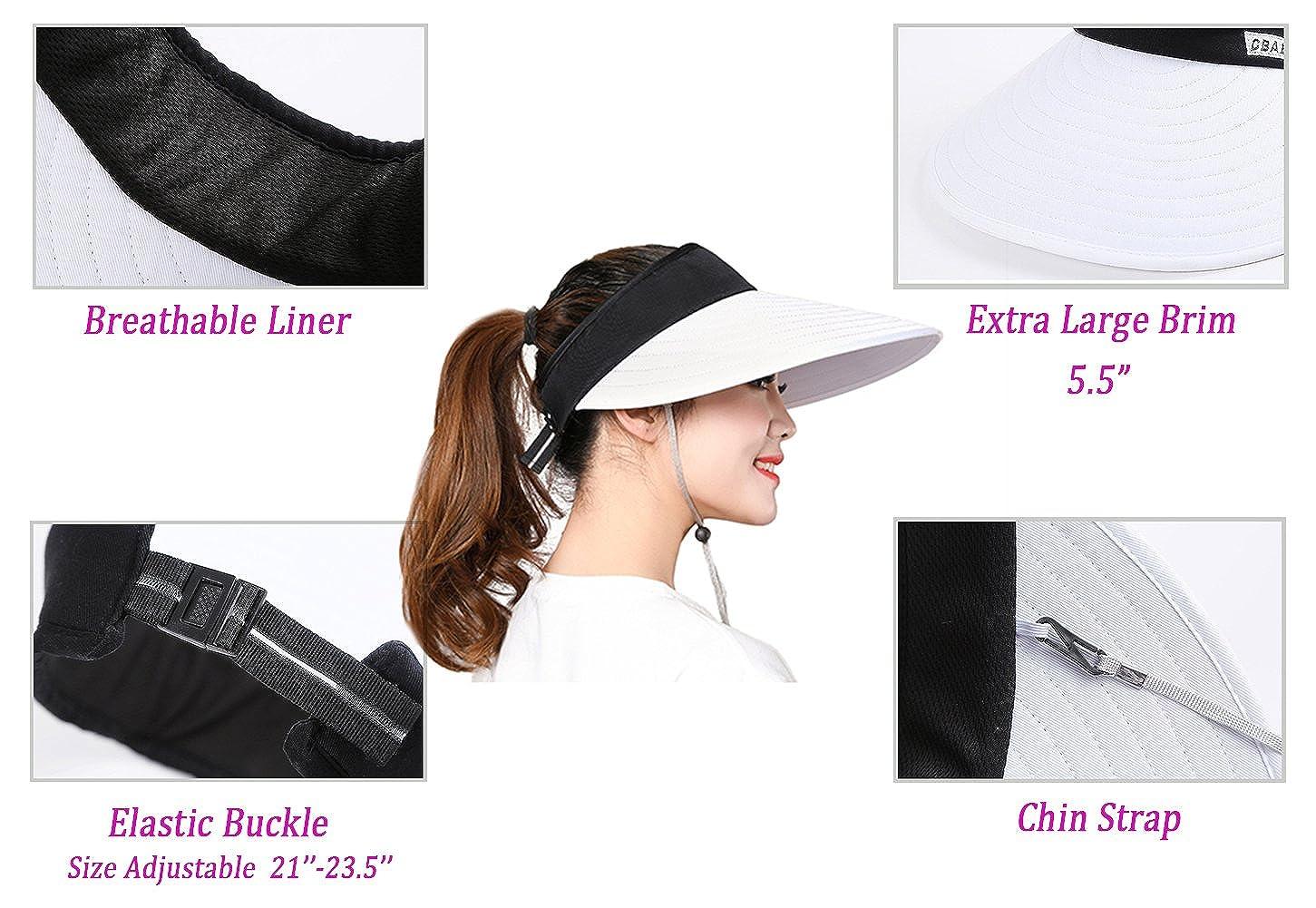 67af0e4e1 Sun Visor Hats for Women, Large Brim UV Protection Summer Beach Cap,  5.5''Wide Brim
