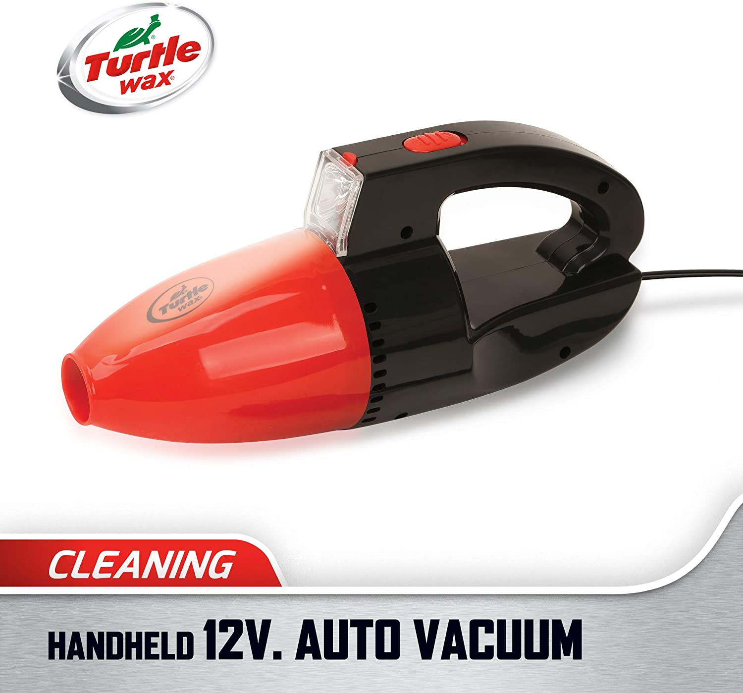 Turtle Wax Handheld Auto Vacuum Cleaner with LED Light, DC 12V (Vehicle Use Only), Red/Black
