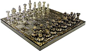 Blessings Decor Collectible Premium Metal Brass Chess Board Game Set Brass Chess Pieces Men stored in Velvet Storage Box. (10 X 10 in)