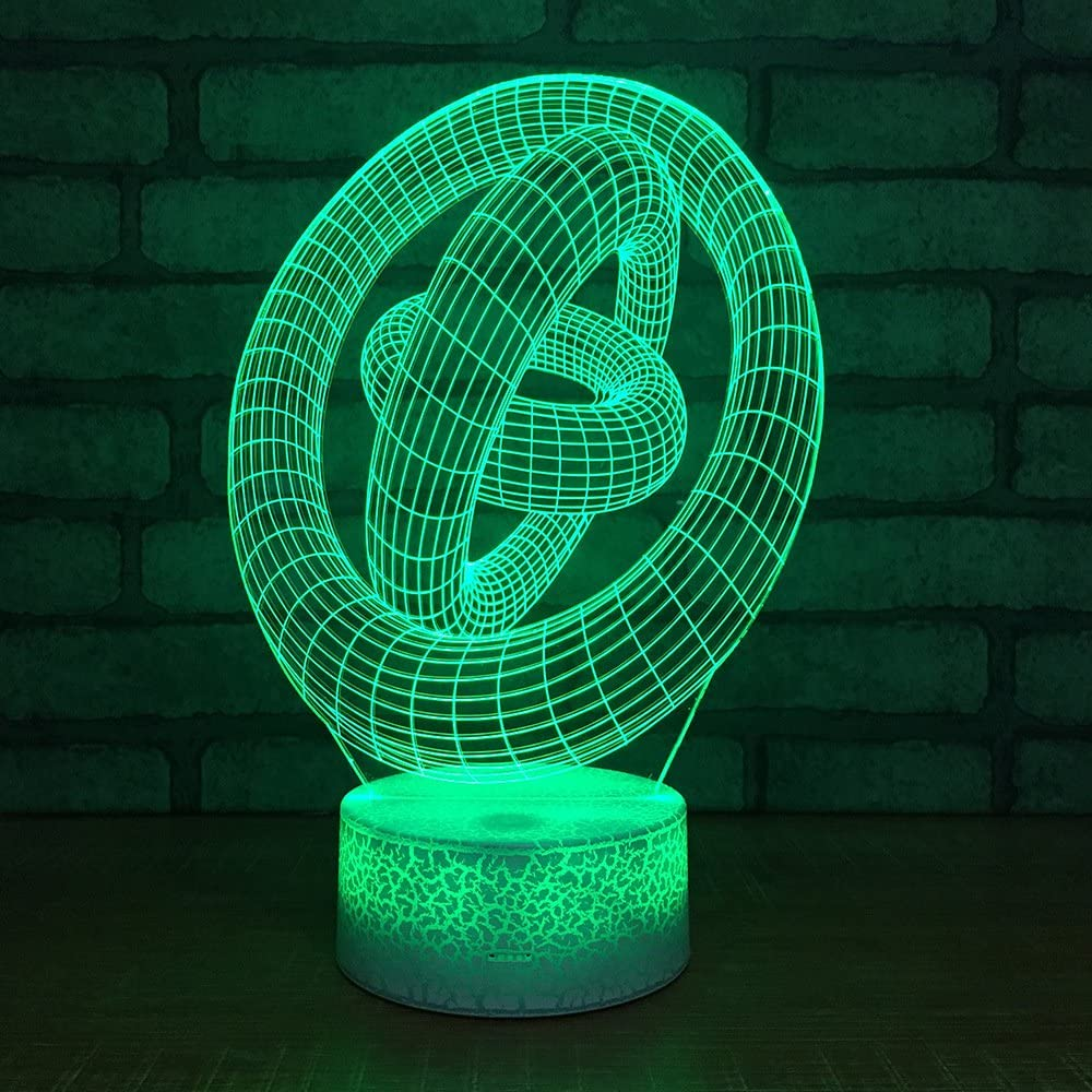 Arte abstracto tricíclico Luz Nocturna 3D Infantil 7 Cambio de Color Lámpara de Noche de Ilusión óptica Lámpara de mesilla LED Dormitorio Decoración Regalo de Cumpleaños para Niños