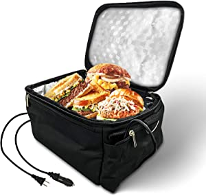 Portable Oven Heated Personal Food Warmer Lunch box(12V Car Druck and 110V Dual Use) For Prepared Meals Reheating & Raw Food Cooking at Work and Car Heat Lunch Box