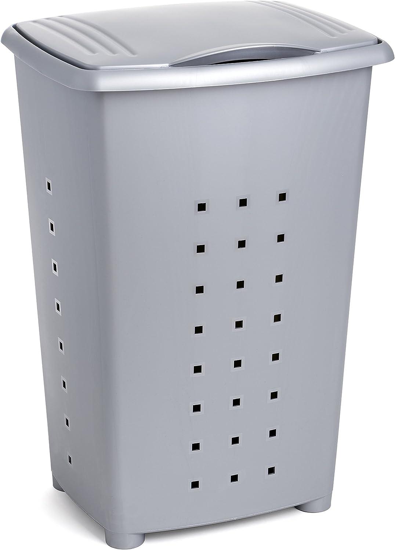 TATAY Millenium Cesto para Ropa Sucia con Tapa, 60 l de Capacidad, Plástico Polipropileno, Gris, 43 x 35,5 x 64 cm