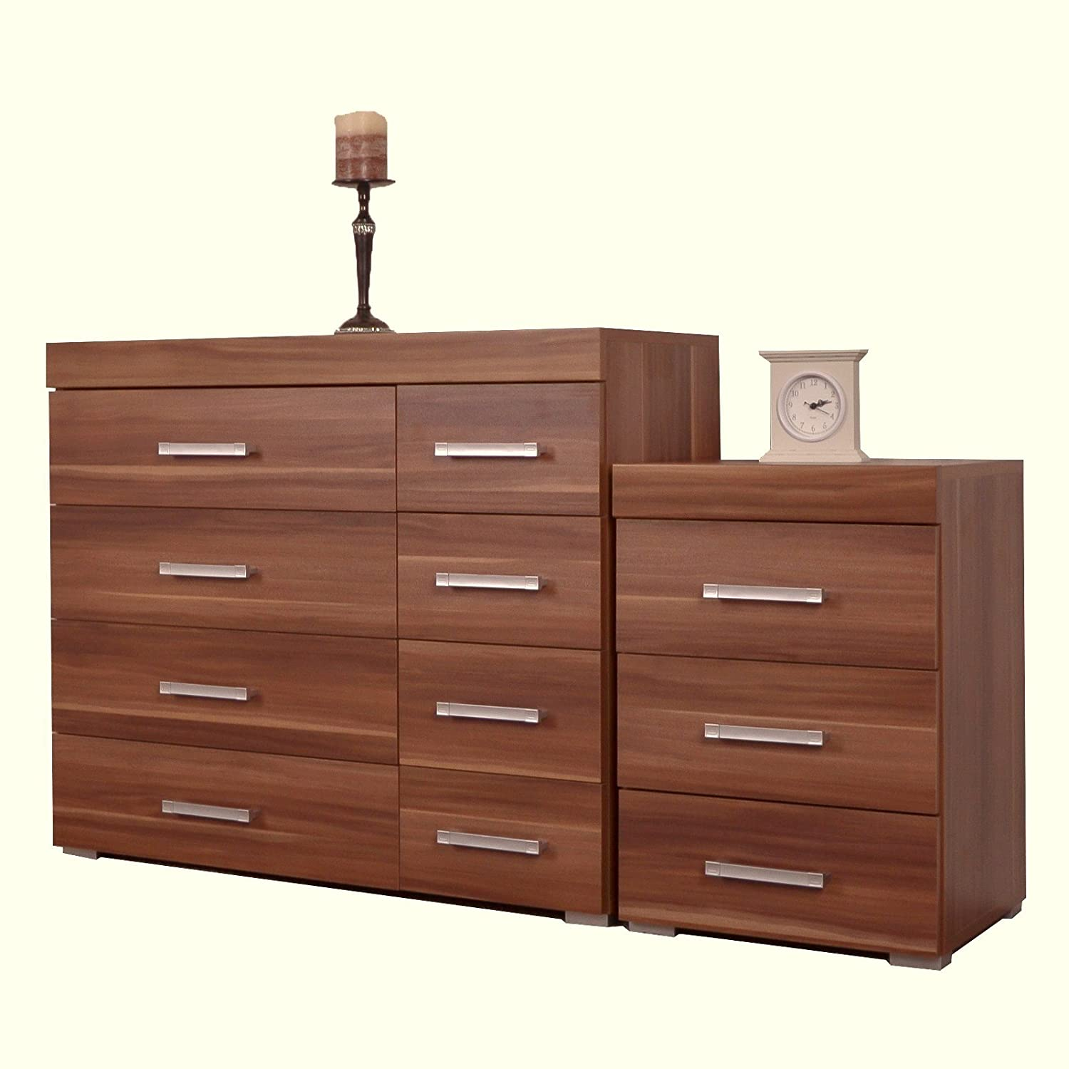 DP Walnut 4+4 Drawer Chest & 3 Draw Bedside Cabinet Bedroom Furniture NEW