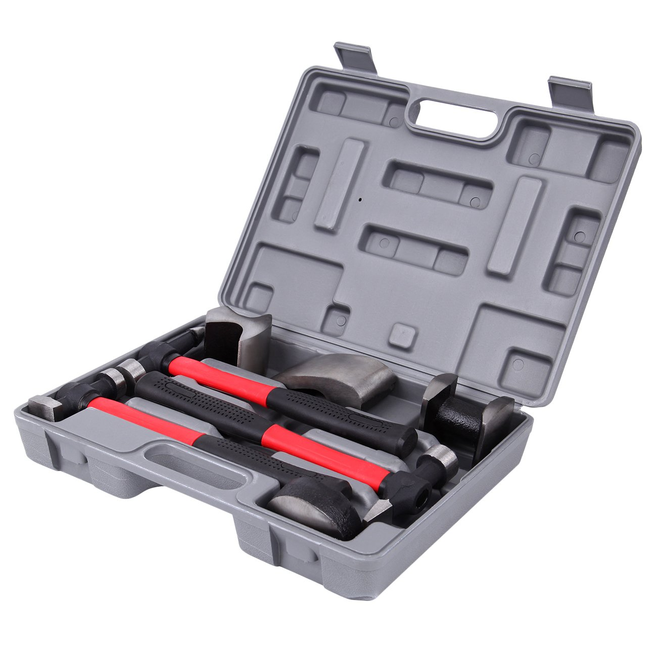 Ambienceo 7Pcs Panel Beating Hammers Dollies Auto Body Shaping and Forming Repair Kit Tool Set with Case