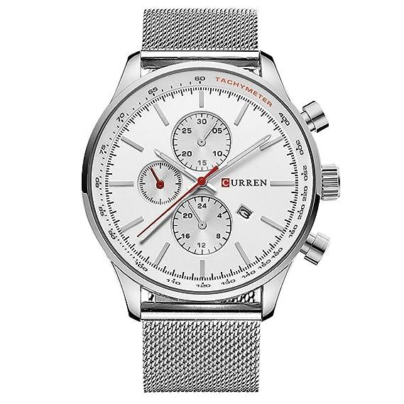 Curren Marca Relojes Hombre Acero Inoxidable Reloj de Cuarzo ...