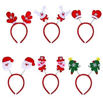 Weihnachtsbaum Haarschmuck f/ür Weihnachtsfeiern Schneemann 6 St/ück Weihnachten Haarreife Festival Haarreif Weihnachtsmann
