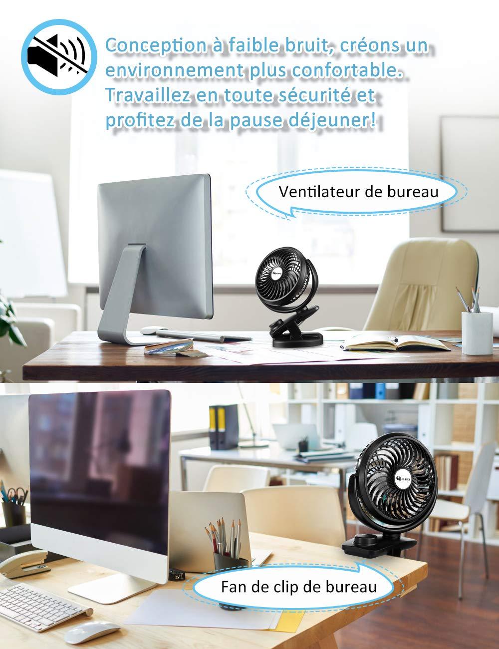 B/éb/é Poussette id/éal pour Table PC Ventilateur Portable Rechargeable Rotation /à 360 /° Lieu de Travail Noir Voyage Merisny Mini Ventilateur USB de Bureau avec Clip Camping