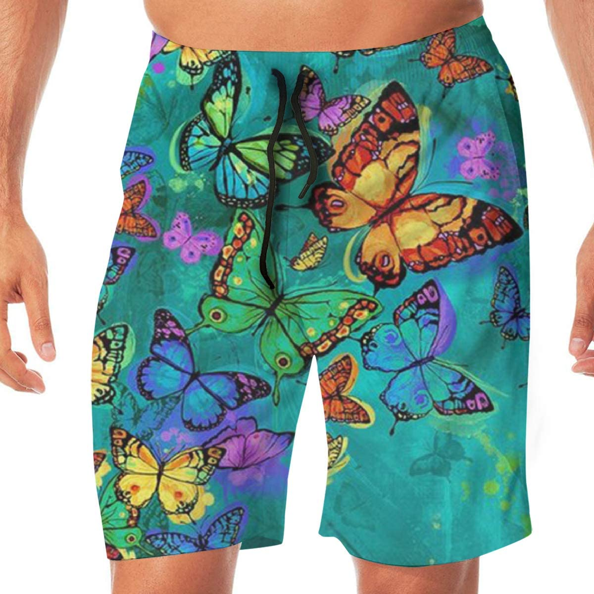 Mens Shorts Trunk Summer Pockets Green Watercolor Butterfly Swim Beach Athletic Quick Dry Beachwear Boardshort