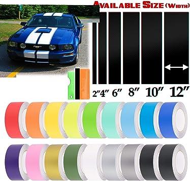 EZAUTOWRAP Free Tool Kit 8 Wide 10FT Long Matte Red Racing Stripes Vinyl Wrap Rally Decals Stripe Sticker