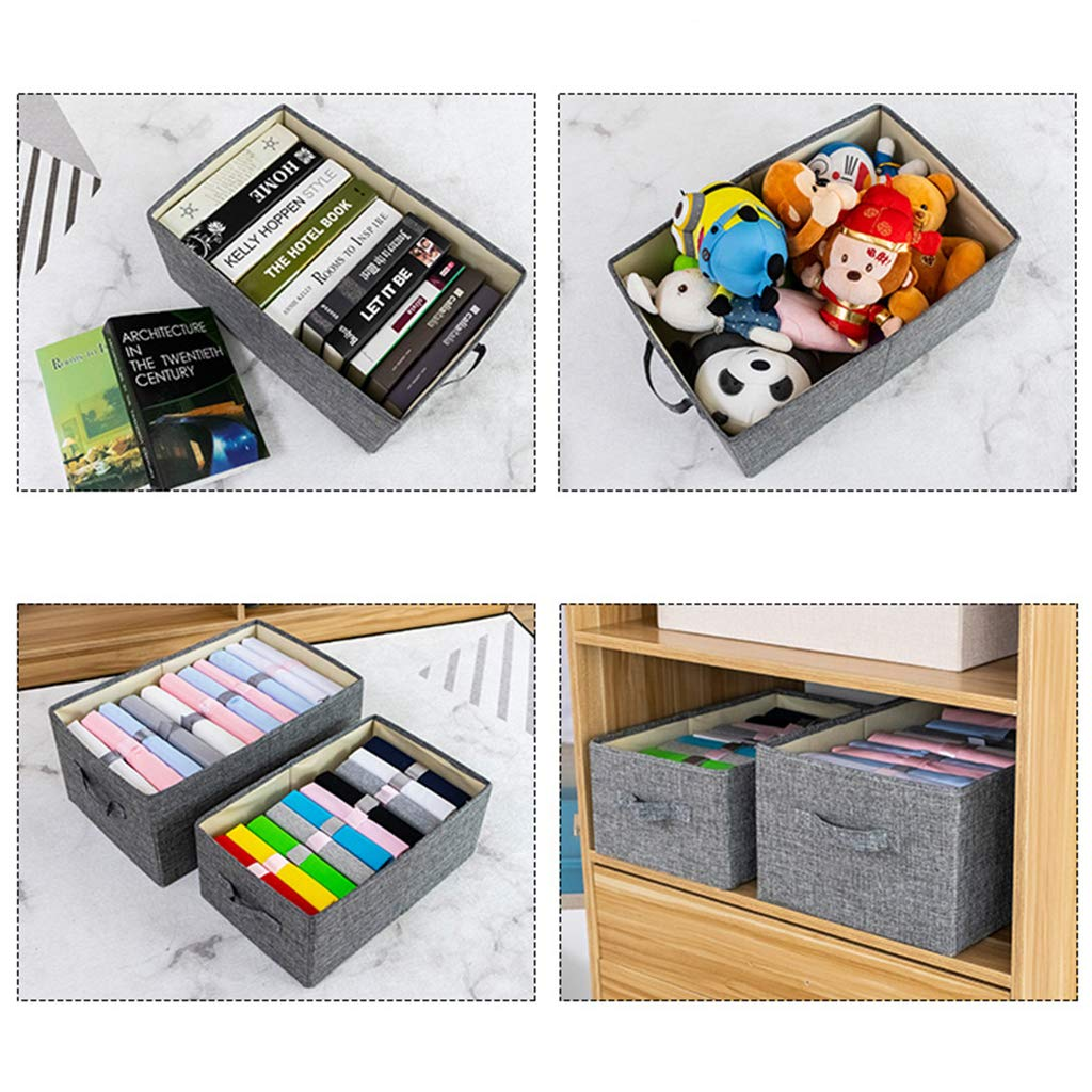 ZXCV Faltbare Schubladen Organizers Ablagek/örbe f/ür Regale B/üro Grau Beige 2er-Pack Stoffbeh/älter mit Griffen f/ür Home Closet , Schlafzimmer