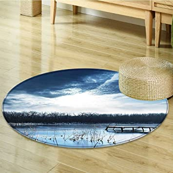 Amazon Com Round Area Rug Carpet Winter With A Frozen Bay