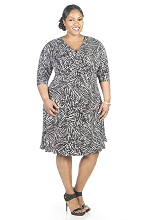 Amazon.com: Glamour Womens Plus Size Elbow Sleeve Fit and Flare ...