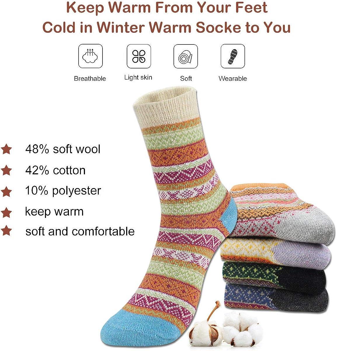 5 Pairs Winter Casual Wool Socks Thick Knit Warm Vintage Crew Socks Christmas Gifts Women Vintage Socks