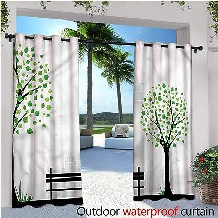 Amazon.com: Cortinas de patio con diseño de hojas de la ...
