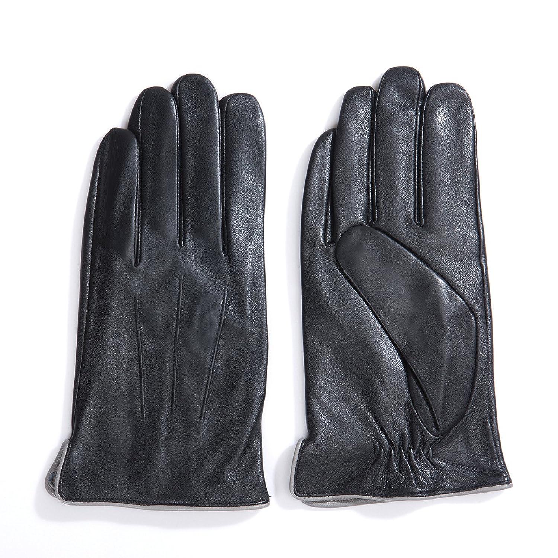 Xxl black leather gloves - Matsu Luxury Men Winter Warm Lambskin Leather Gloves M1006 S Black Long Fleece Or Cashmere Lining At Amazon Men S Clothing Store