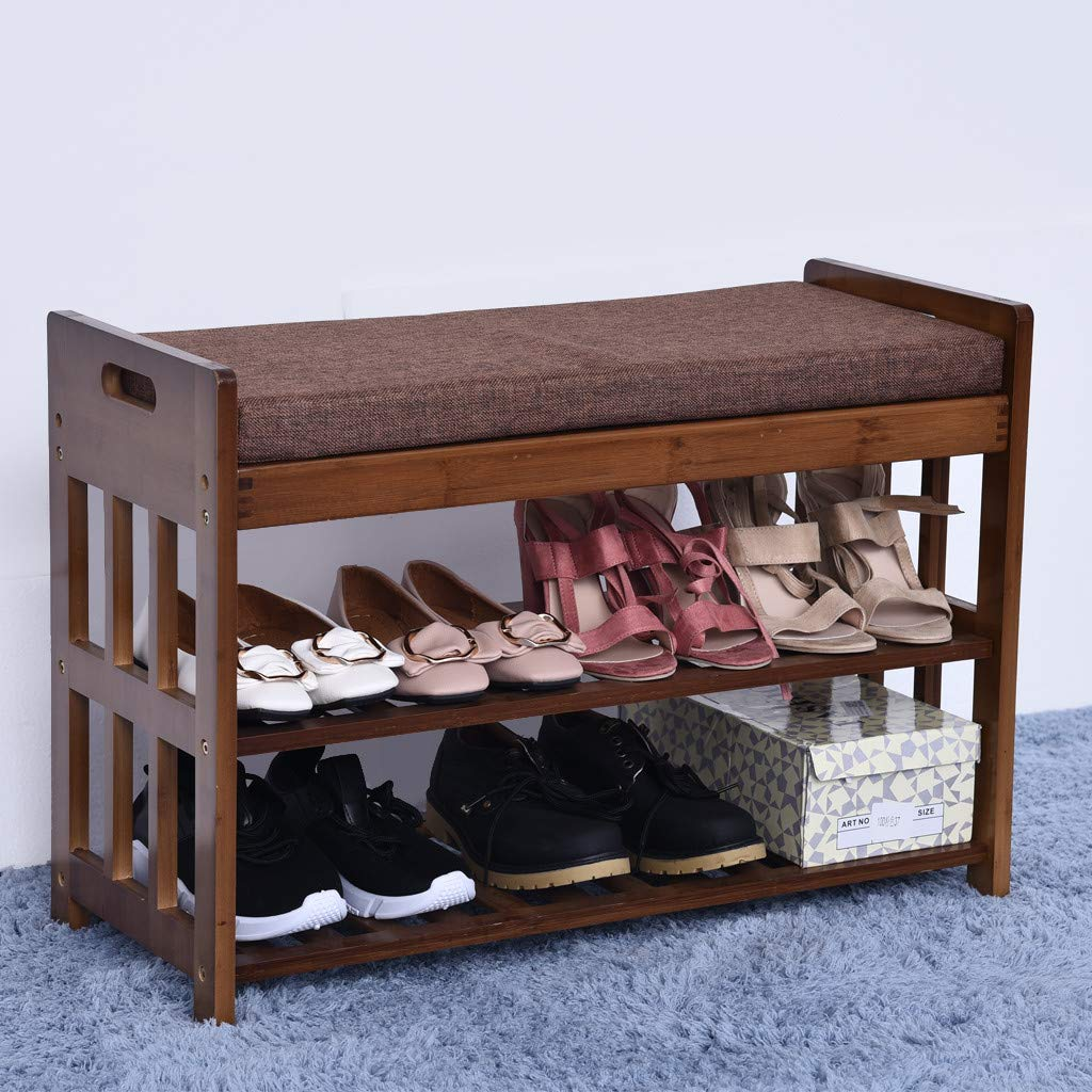 Natural Bamboo Shoe Rack Shoes Cabinet Entryway Shoe Storage Household Shelf Shoe Bench with Cushion,Ideal for Hallway Bathroom(Shipped from USA) by cnnIUHA (Image #2)