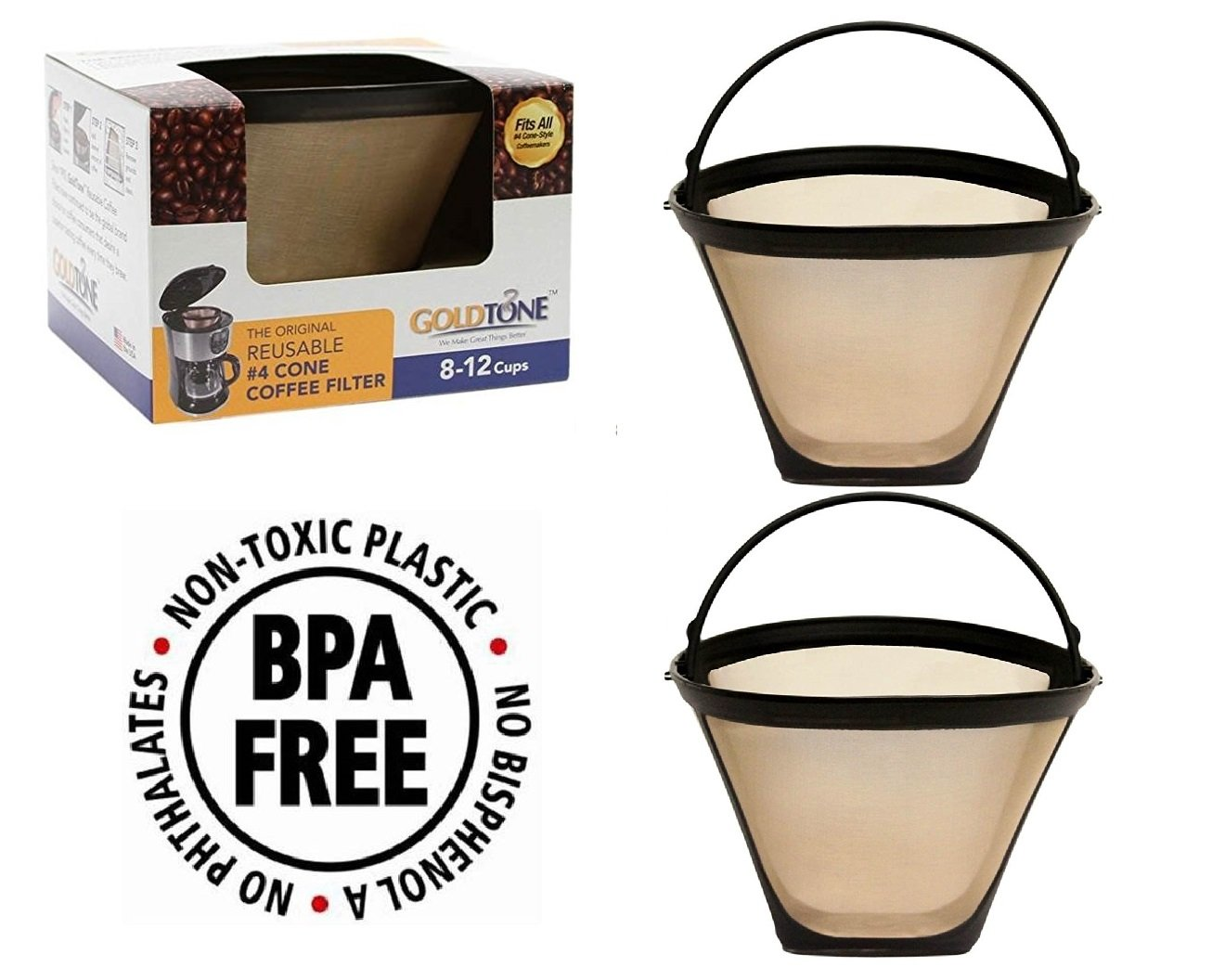 GoldTone Brand Reusable #4 Cone replaces your Ninja Coffee Filter for Ninja Coffee Bar Brewer - BPA Free - Made in USA [2 PACK] by GoldTone (Image #1)