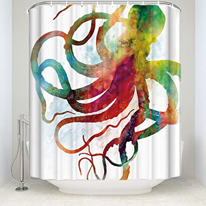 Image Unavailable Not Available For Color Modern Art Bright Octopus Shower Curtain